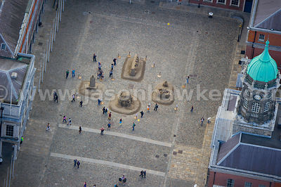 Aerial view of sand sculptures at Dublin Castle, Dublin, Ireland
