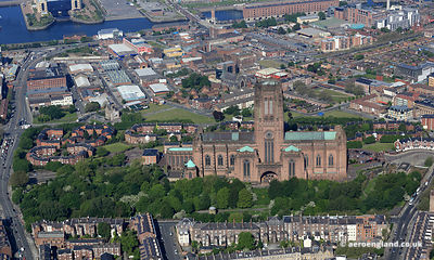 aerial photograph of Liverpool  Merseyside England UK