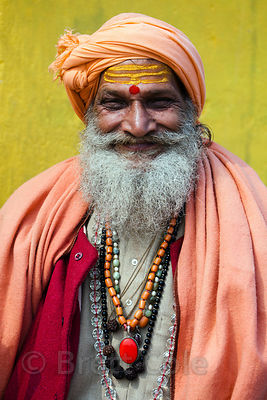 A splendidly dressed elderly man in Varanasi, India.