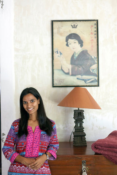 A member of staff at Villa Helena, an upscale Heritage Hotel, Pondichaerry, India