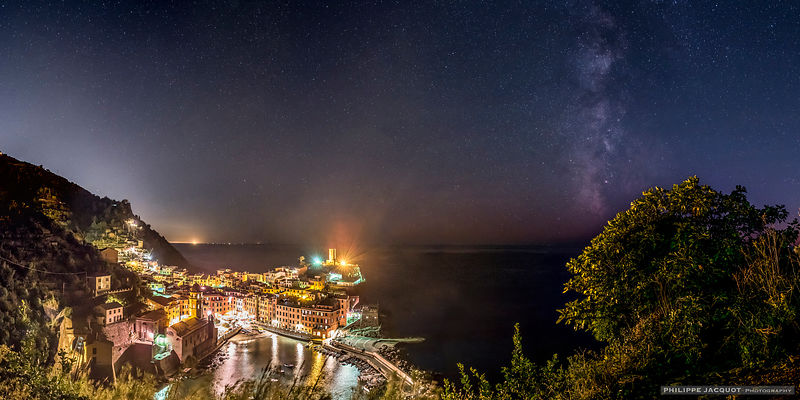 Milky Way over Vernazza in Cinque Terre - Italy