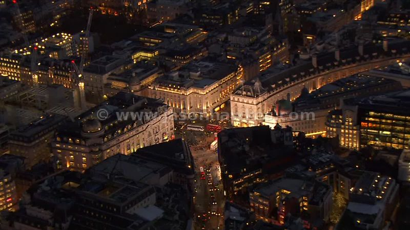 Aerial footage of Piccadilly Circus at night, London