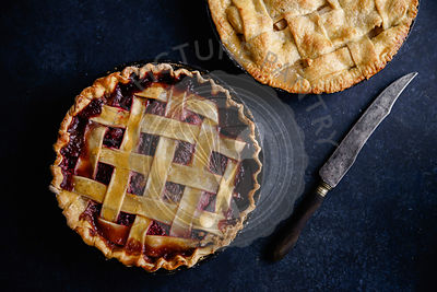 Apple pie and pie with berries