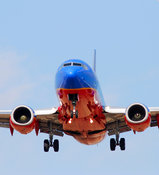 Southwestern Airlines plane upon approach (landing)