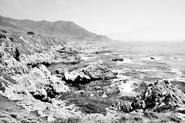 BIG SUR PACIFIC COAST HIGHWAY ONE CALIFORNIA BLACK AND WHITE