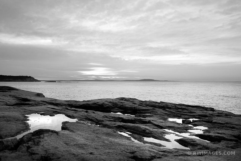 SUNRISE OTTER CLIFF ACADIA NATIONAL PARK BLACK AND WHITE