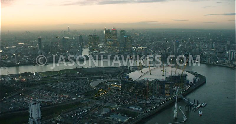London Aerial Footage of O2 Arena with River Thames.