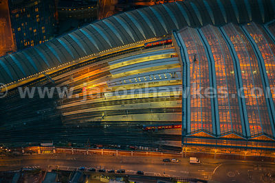 Aerial view of Waterloo Station at night, Lambeth, London