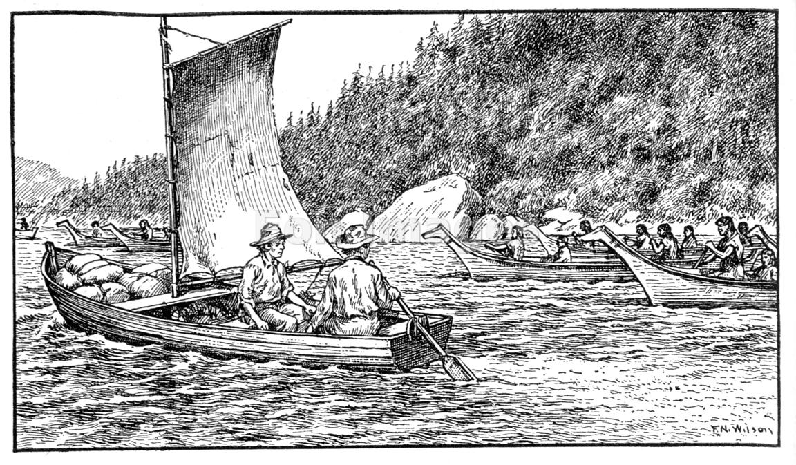 Oregon trail pioneers encounter canoes in the Puget Sound