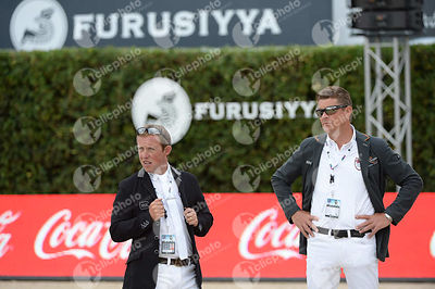 Gerco SCHRODER ,(NED), Jeroen DUBBELDAM ,(NED) during Queen's Cup - Segura Viudas Trophy competition at CSIO5* Barcelona at Real Club de Polo, Barcelona - Spain