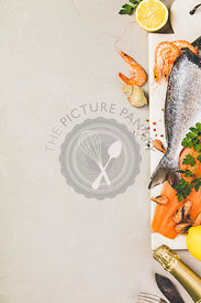 Seafood on grey concrete background