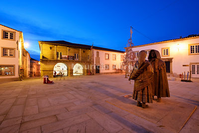 The central square of the medieval walled city of Miranda do Douro at twilight. Trás-os-Montes, Portugal