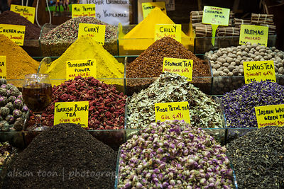 Herbal and flower tea for sale in the spice market, Istanbul