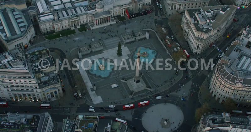 Aerial footage of Trafalgar Square