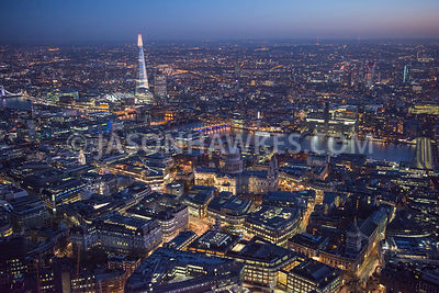 Night aerial view over St Paul's, City of London
