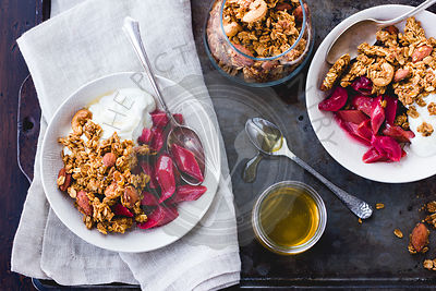 Poached rhubarb and honey, yoghurt and granola breakfast