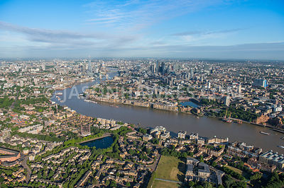 Aerial view of London, Rotherhithe and Limehouse with River Thames.