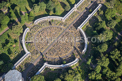 Aerial view of London, close up of grave stones and memorials, Brompton.