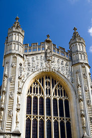 West front of Bath Abbey, Bath, Somerset.