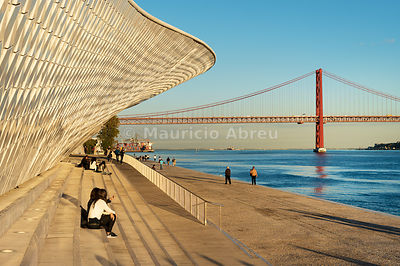 The MAAT (Museum of Art, Architecture and Technology), bordering the Tagus river, was designed by British architect Amanda Levete. Lisbon, Portugal
