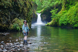 Karen Rentz and Punchbowl Falls in Columbia River Gorge
