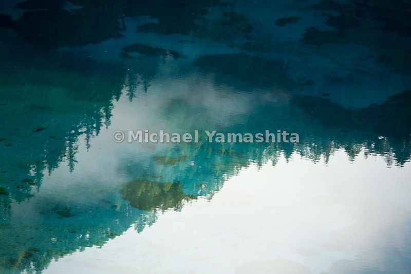 Jiuzhaigou in Spring. Five-Colored Lake at dawn.
