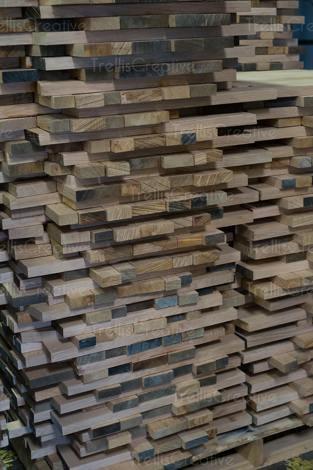 A pile of wood planks.