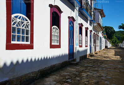 Facade of colonial houses in Paraty, Brazil.