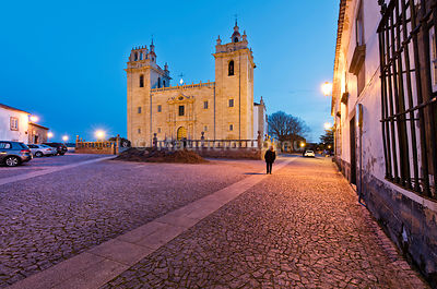 The cathedral of the medieval walled city of Miranda do Douro at twilight. Trás-os-Montes, Portugal (MR)