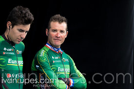 Thomas Voeckler (Europcar) and a teammate at the team presenation before the start of Grand Prix Cycliste de Québec, September 11, 2015