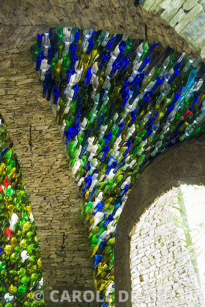 Dome constructed using thousands of glass bottles. Westonbury Mill Water Garden, Pembridge, Herefordshire, UK
