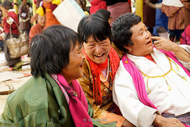 Local women attended a blessing by the Chief Abbot of the Central Monastic Body of Bhutan in Paro, Bhutan.