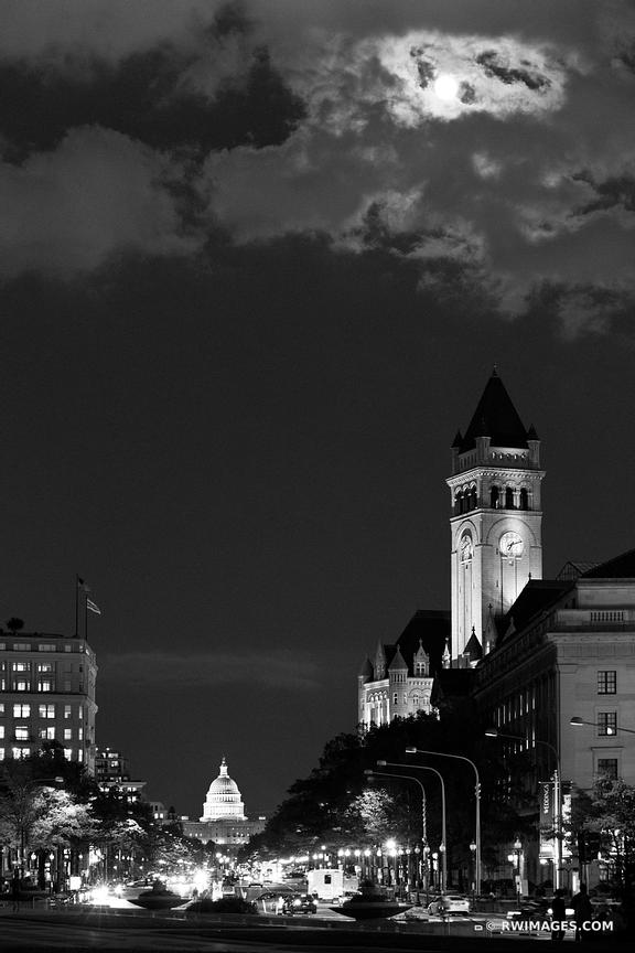 PENNSYLVANIA AVENUE AT NIGHT WASHINGTON DC WASHINGTON DC BLACK AND WHITE VERTICAL