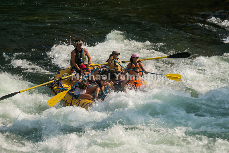 Whitewater rafting/kayaking on Snake River, south of Jackson Hole. Grand Teton National Park, Wyoming...Jagged peaks of the Teton Range, lush meadows, dense forests and deep lakes, define this Park, which also teems with wildlife. Highest peak is 13,770ft., park encompasses 485sq. miles.