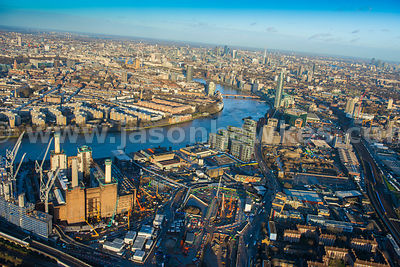 Aerial view of the Nine Elms development, London
