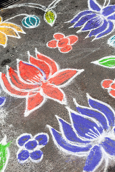 A Kolam decoration outside a house in Pondicherry, India