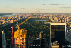A view of the Central Park in late evening light as seen from the Top of the Rockefeller Center in New York City.