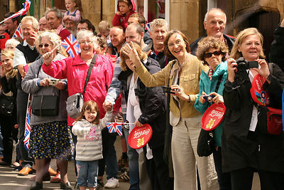 Laughing Crowds at Olympic Torch Relay