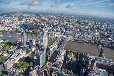 Aerial view of London River Thames and South Bank