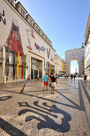 Rua Augusta and the Museum of Design, the main pedestrian street in the historical and commercial center of Lisbon, Portugal
