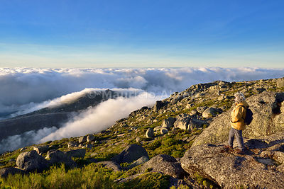 Trekking at the top of the highest mountain range in Continental Portugal, 2000m. Serra da Estrela Nature Park, Portugal