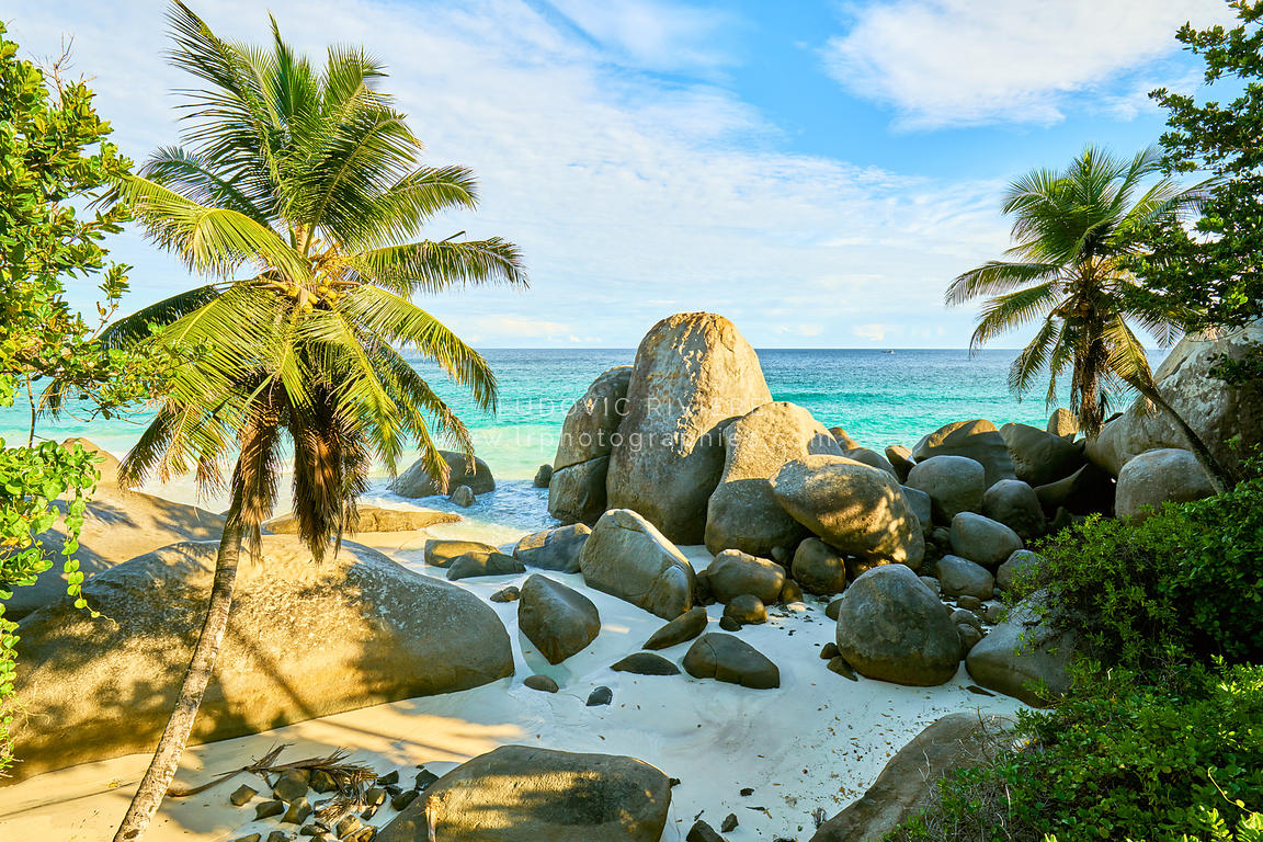 "tropical beach Seychelles called ""Carana Beach"", machabee, mahe, seychelles"