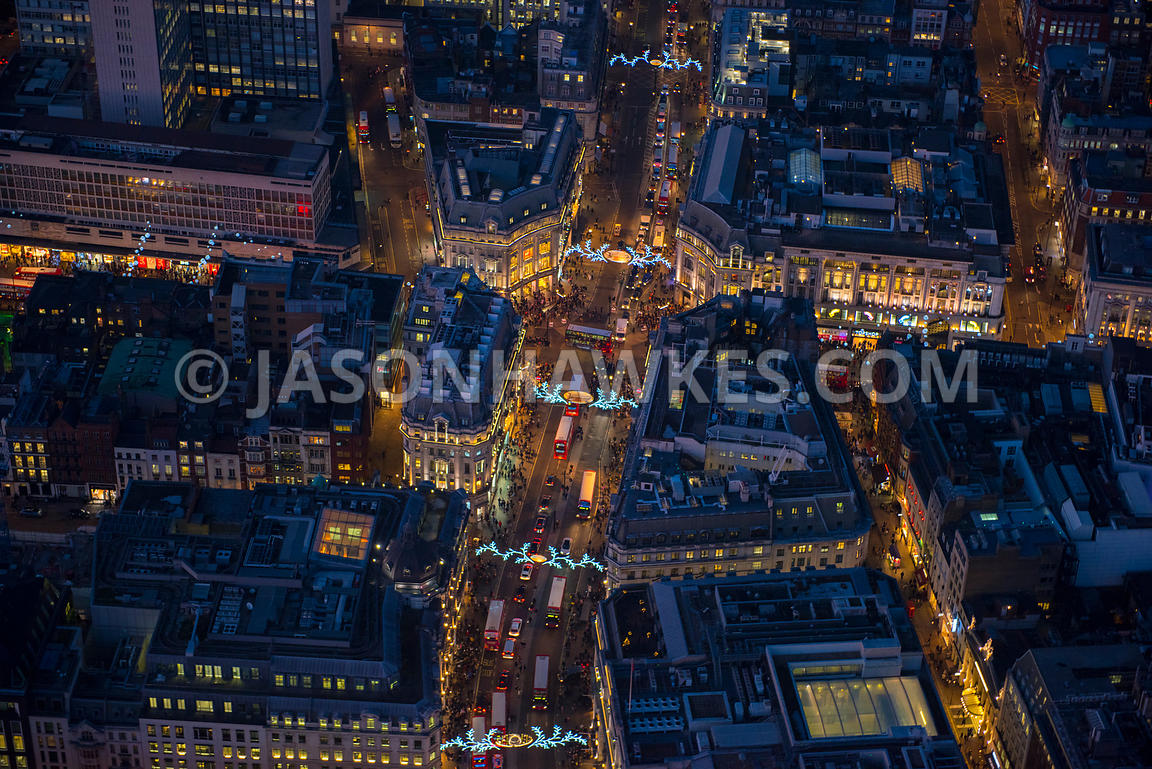 Oxford Circus at night, aerial view, London