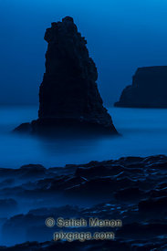 Sea Stack and Rocks at Night, Davenport Beach, CA, USA