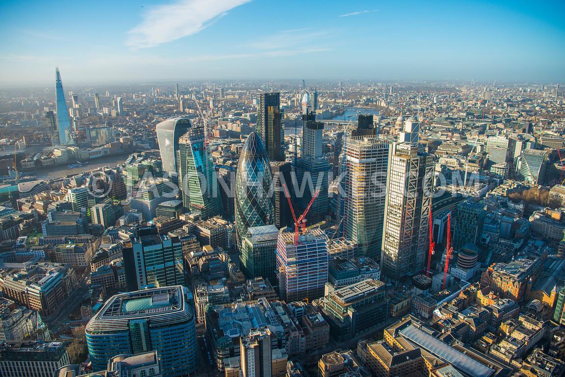 Aerial view of City of London skyline with construction of The Scalpel, 22 Bishopsgate, 100 Bishopsgate.