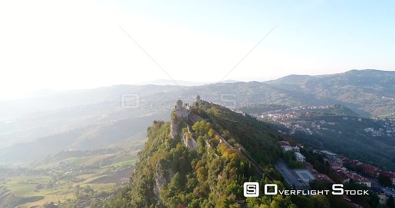 Mountain Castles, Aerial View Towards Cesta and Montale Fortress, on a Sunny Autumn Day, in San Marino City