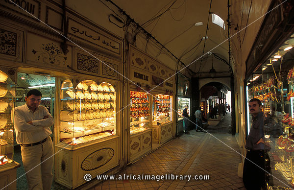 gold and jewellery shop, souq in the old medina, Tunis, Tunisia