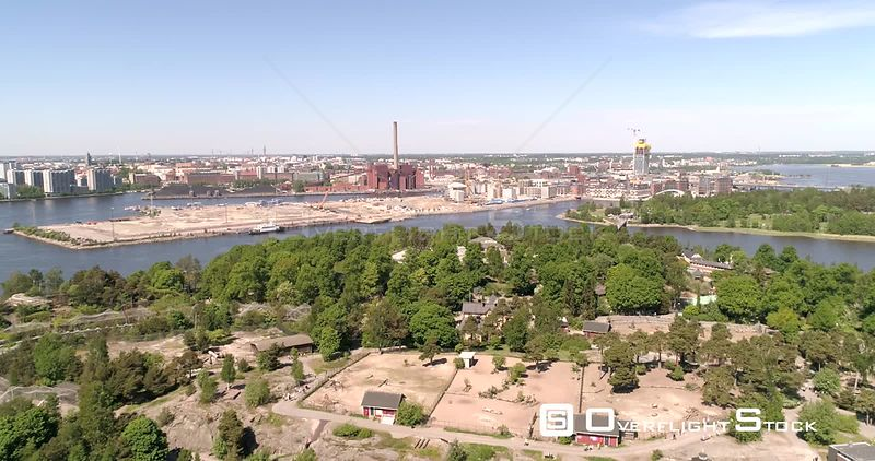 Zoo Island, Aerial Descending View of Korkeasaari Zoo, on a Sunny Summer Day, in Helsinki, Uusimaa, Finland