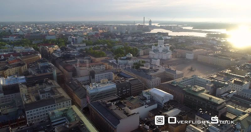Helsinki Cathedral, Aerial Sideway View of the City and the Church, on a Sunny Summer Morning Dawn, in Helsingfors, Uusimaa, Finland