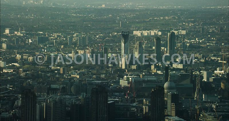 London Aerial Footage of Barbican towards Tate Modern.